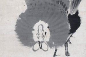 伊藤若冲の「竹に雄鶏図」一部
